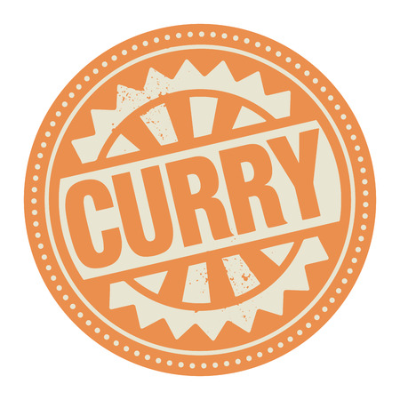 india food: Abstract stamp or label with the text Curry written inside Illustration