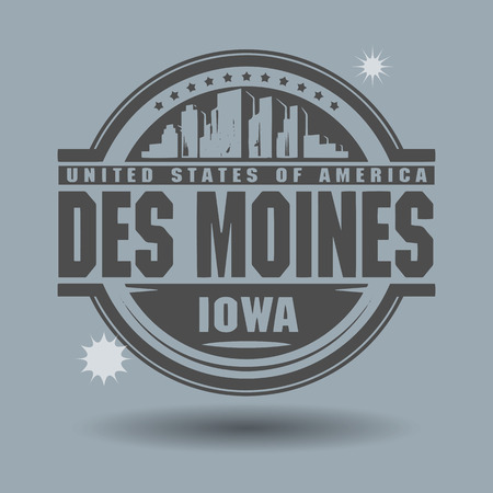 Stamp or label with text Des Moines, Iowa inside Vector