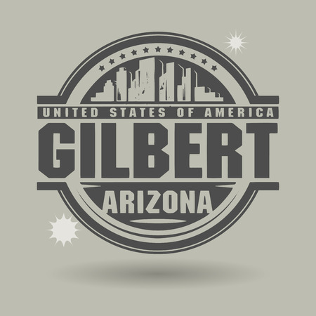 gilbert: Stamp or label with text Gilbert, Arizona inside Illustration
