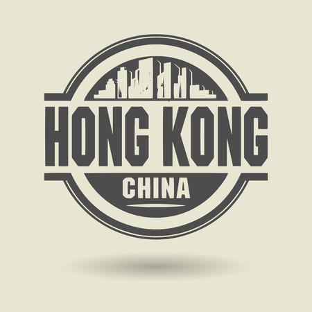 Stamp or label with text Hong Kong, China inside Vector