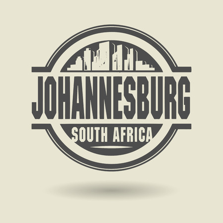 Stamp or label with text Johannesburg, South Africa inside
