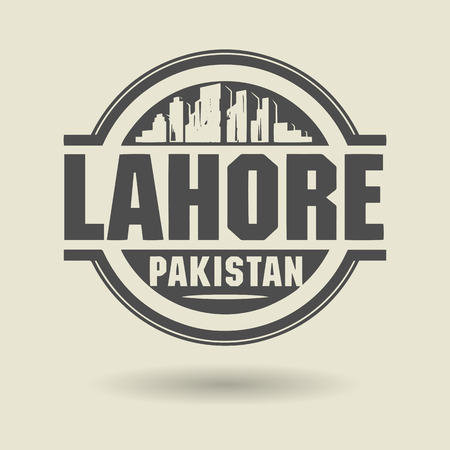 Stamp or label with text Lahore, Pakistan inside Stock Vector - 27911832