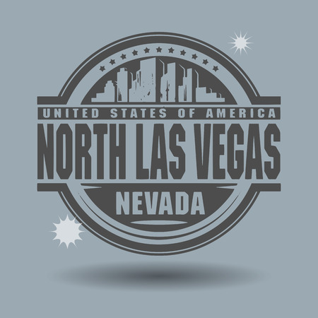las vegas city: Stamp or label with text North Las Vegas, Nevada inside