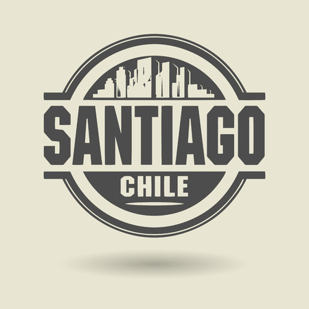 santiago: Stamp or label with text Santiago, Chile inside