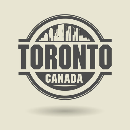 canada stamp: Stamp or label with text Toronto, Canada inside Illustration