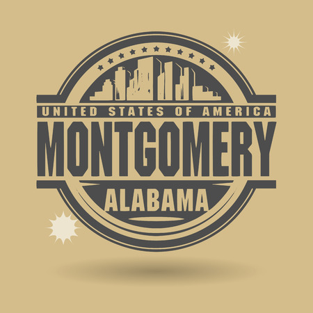 montgomery: Stamp or label with text Montgomery, Alabama inside Illustration