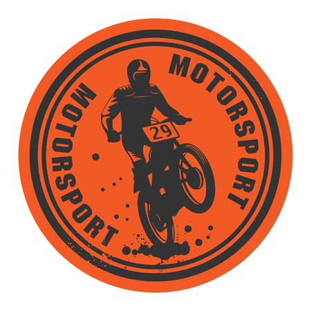 motocross riders: Motorsport abstract label Illustration