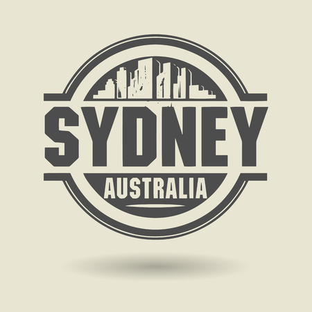 australia stamp: Stamp or label with text Sydney, Australia inside Illustration