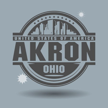 Stamp or label with text Akron, Ohio inside Vector