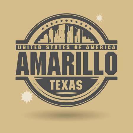 Stamp or label with text Amarillo, Texas inside