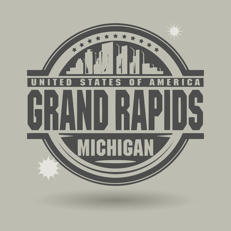 grand rapids: Stamp or label with text Grand Rapids, Michigan inside