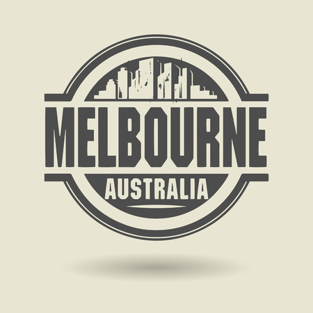 australia stamp: Stamp or label with text Melbourne, Australia inside