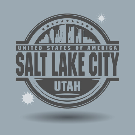 salt lake city: Stamp or label with text Salt Lake City, Utah inside Illustration