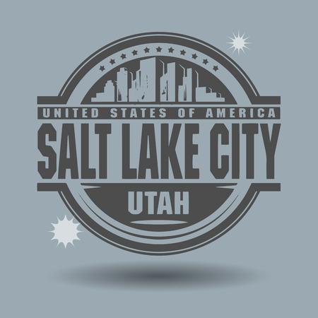 salt: Stamp or label with text Salt Lake City, Utah inside Illustration