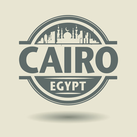 cairo: Stamp or label with text Cairo, Egypt inside