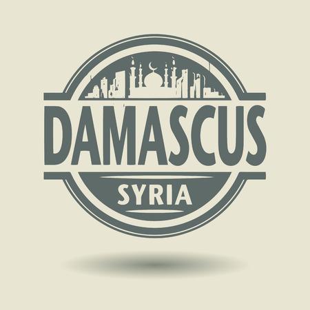 Tampon ou une étiquette avec le texte Damas, Syrie intérieur