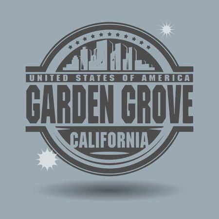 작은 숲: Stamp or label with text Garden Grove, California inside