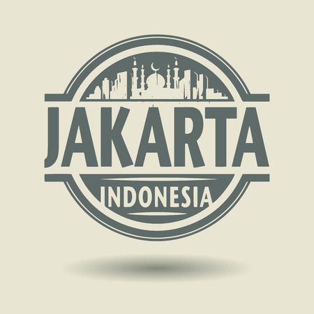 indonesia culture: Stamp or label with text Jakarta, Indonesia inside