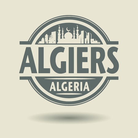 Stamp or label with text Algiers, Algeria inside Vector