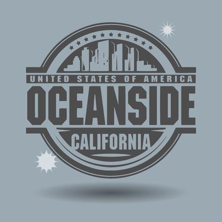 oceanside: Stamp or label with text Oceanside, California inside Illustration