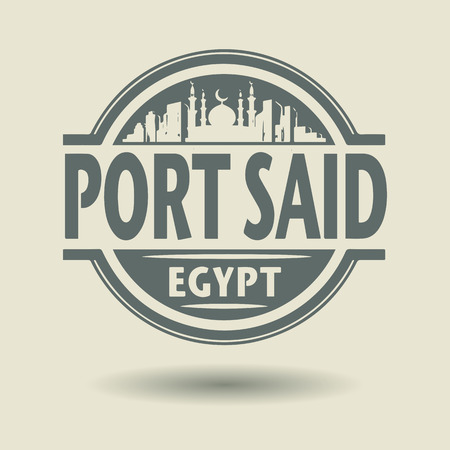 Stamp or label with text Port Said, Egypt inside Vector