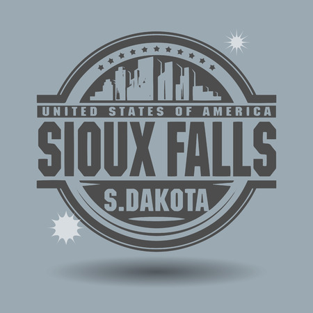 sioux: Stamp or label with text Sioux Falls, South Dakota inside