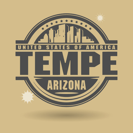 Stamp or label with text Tempe, Arizona inside Vector