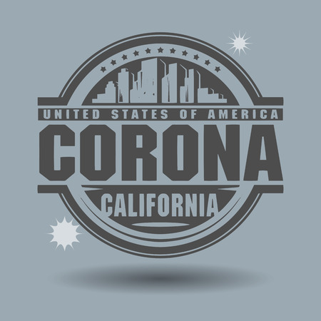 Stamp or label with text Corona, California inside Illustration