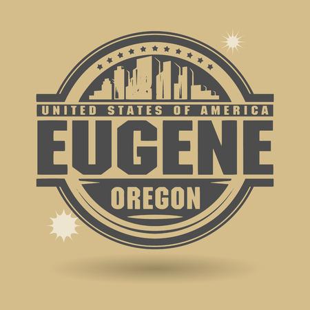 eugene: Stamp or label with text Eugene, Oregon inside