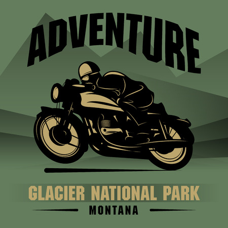 motociclista: Cartel de la aventura de la motocicleta de la vendimia Vectores