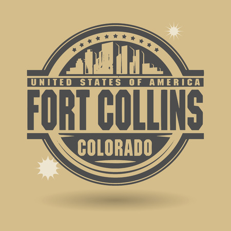 capital of colorado: Stamp or label with text Fort Collins, Colorado inside Illustration