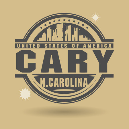 carolina: Stamp or label with text Cary, North Carolina inside