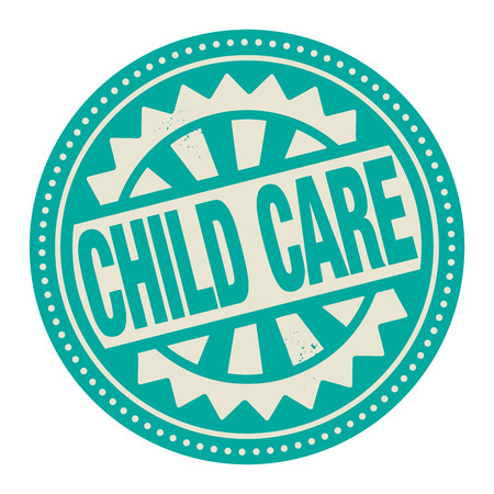 child care: Abstract stamp or label with the text Child Care written inside Illustration