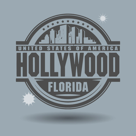 hollywood: Stamp or label with text Hollywood, Florida inside