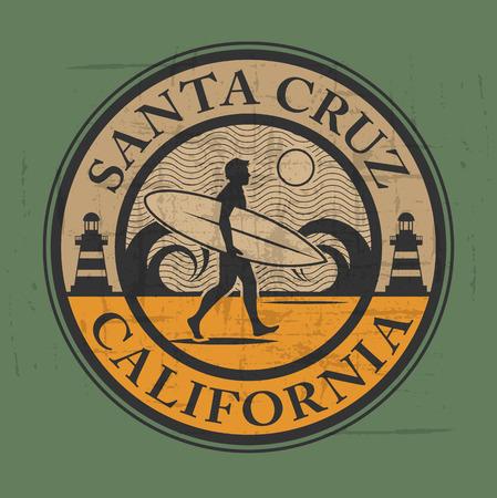 Abstract surfer stamp or sign of santa cruz, california Vector Illustration