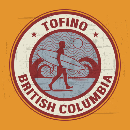 british columbia: Abstract surfer stamp or sign of tofino, British Columbia