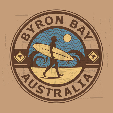 byron: Abstract surfer stamp or sign of byron bay, australia