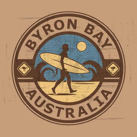 Timbre de surfer abstrait ou le signe de la baie de Byron, Australie Illustration