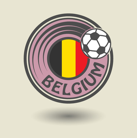 Stamp or label with word Belgium, football theme Vector