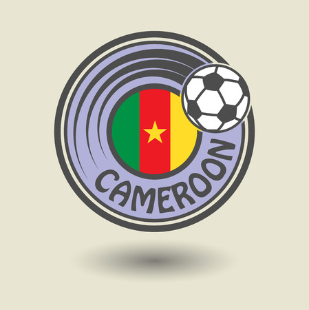Stamp or label with word Cameroon, football theme Vector