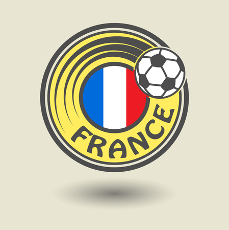 Stamp or label with word France, football theme Vector