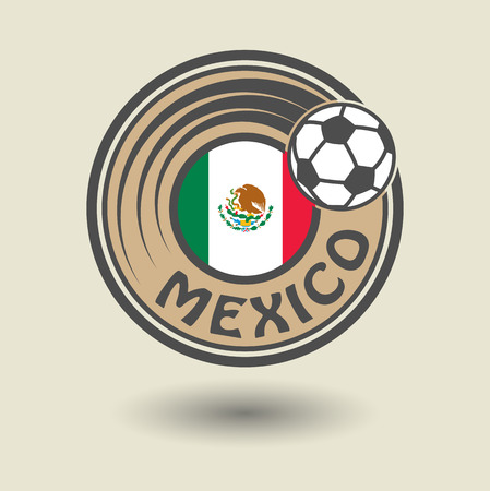 mexico flag: Stamp or label with word Mexico, football theme