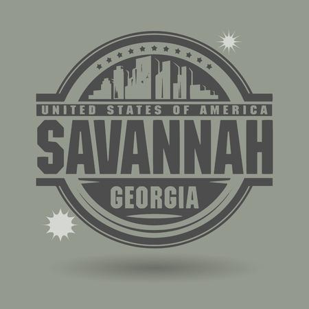 savanna: Stamp or label with text Savannah, Georgia inside Illustration