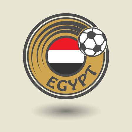 Stamp or label with word Egypt, football theme Vector