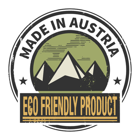 natural ice pastime: Abstract stamp or label with text Made in Austria, Eco Friendly Product Illustration