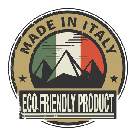 natural ice pastime: Abstract stamp or label with text Made in Italy, Eco Friendly Product