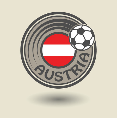 Stamp or label with word Austria, football theme Vector