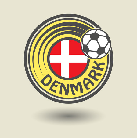 Stamp or label with word Denmark, football theme Vector