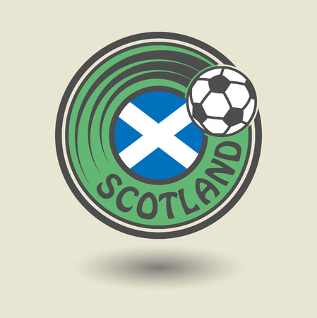 scotland flag: Stamp or label with word Scotland, football theme