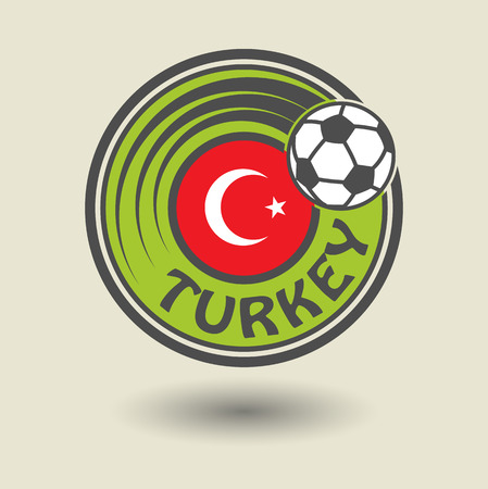 Stamp or label with word Turkey, football theme Vector